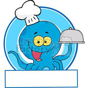 Cartoon Blue Octopus Chef holding a serving platter clipart. Royalty-free image # 379439