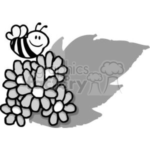Black and White Bee flying over flowers clipart. Commercial use image # 379449