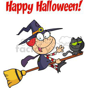 Happy Halloween Greeting with Little witch and black cat on a broom clipart. Royalty-free image # 379454