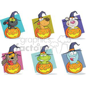 Cartoon Halloween Characters Set clipart. Royalty-free image # 379459