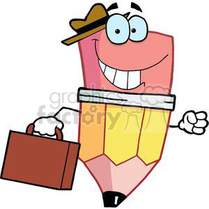 Pencil Cartoon Character Carrying A Briefcase clipart. Commercial use image # 379464