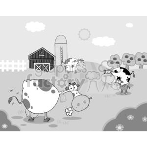 Country Farm Scene With Cows clipart. Commercial use image # 379479