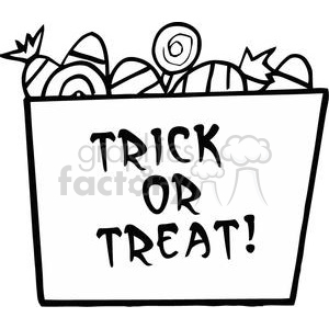 Cartoon Halloween Bucket Of Candy clipart. Commercial use image # 379484
