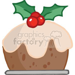 Cartoon Christmas Pudding clipart. Royalty-free image # 379489