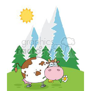 Mountain Dairy Cow With Flower In Mouth clipart. Commercial use image # 379504