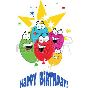 Happy Birthday Ballons With Stars - Happy Birthday! clipart. Royalty-free image # 379514