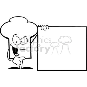 Cartoon Chefs Hat Character Presenting A Blank Sign clipart. Royalty-free image # 379519