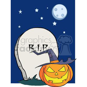 Cartoon R I P Gravestone Pumpkin clipart. Royalty-free image # 379524
