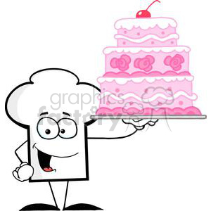 Cartoon Chefs Hat Character Holding Up A Beautifully Decorated Cake clipart. Commercial use image # 379529