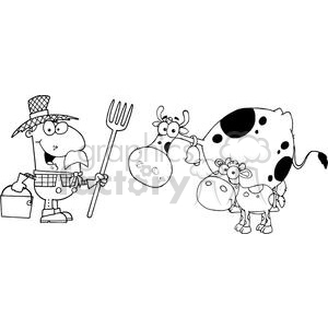 Male Farmer Calf And Cow clipart. Commercial use image # 379534