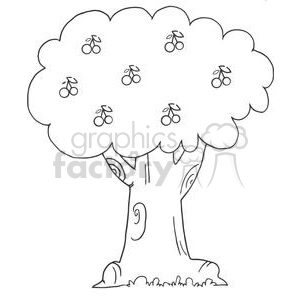 cartoon funny comical comic vector tree trees black white cherry