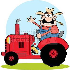 Happy Farmer In Red Tractor Waving A Greeting clipart. Commercial use image # 379549