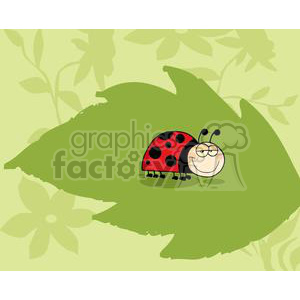 Mascot Cartoon Character Ladybug On Green Leaf In The Garden clipart. Commercial use image # 379554