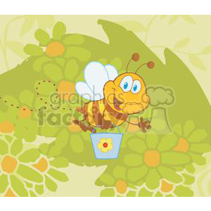 Cartoon Character Bee Flying Bucket In The Garden clipart. Royalty-free image # 379564