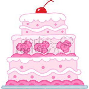 Elegant Pink Three Tiered Wedding Cake clipart. Commercial use image # 379579