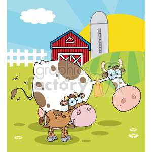 Country Farm Scene Cow With A Little Calf clipart. Commercial use image # 379584