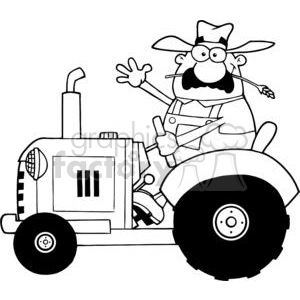 Happy-Farmer-In-Red-Tractor--Waving-A-Greeting clipart. Commercial use image # 379589