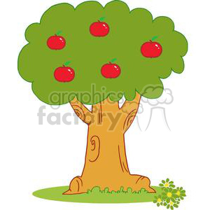 2151-Wood-Covered-With-Red-Apples clipart. Commercial use image # 379594