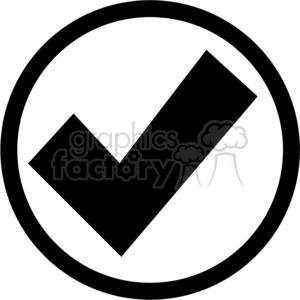 black circled check mark clipart. Royalty-free image # 379621