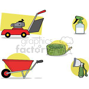 Lawn mower,hose,wheel barrow,spray bottle clipart. Royalty-free image # 379626