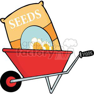 Wheel Barrow with seed bag inside clipart. Commercial use image # 379636