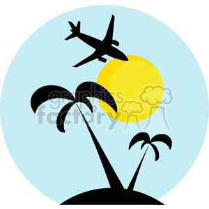 Blue circle with palm trees, a sun, and an airplane inside