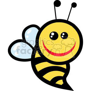 Smiling little bee character clipart. Commercial use image # 379666