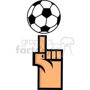 Soccer ball on finger tip clipart. Royalty-free image # 379676