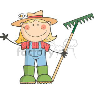 2507-Royalty-Free-Stick-Figure-Gardening-Girl-Waving-A-Greeting