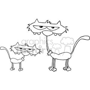 black and white kitten and cat clipart. Royalty-free image # 379771