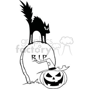 Black cat on a gravestone with a jack-o-lantern clipart. Royalty-free image # 379776