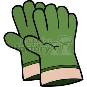 Green gardening gloves clipart. Commercial use image # 379791