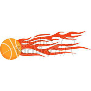 Flaming basketball on white