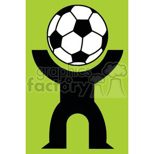 Silhouette Person with a soccer ball head clipart. Commercial use image # 379806