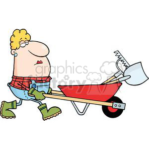 Woman Gardener Drives A Barrow With Tools clipart. Commercial use image # 379821