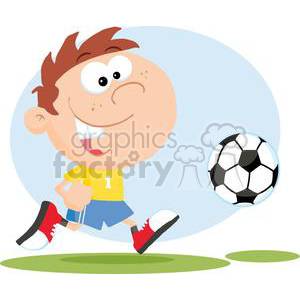 2543-Royalty-Free-Soccer-Boy-With-Ball clipart. Royalty-free image # 379841