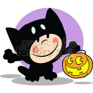 Child in Halloween Cat suit with a pumpkin clipart. Royalty-free image # 379851