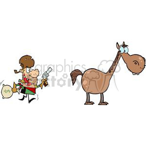 Outlaw with money bag and gun escaping to his horse clipart. Commercial use image # 379856