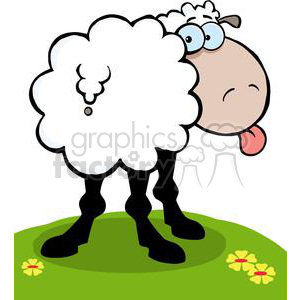 2670-Royalty-Free-Funky-Sheep-Sticking-Out-His-Tongue clipart. Commercial use image # 379861