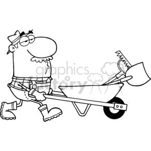 Gardener Drives A Barrow With Tools clipart. Royalty-free image # 379871