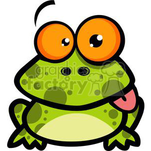 a green spotted frog with orange eyes sticking out its tongue  clipart. Commercial use image # 379881