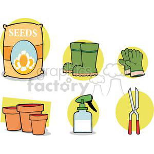 2459-Royalty-Free-Gardening-Tools-Set clipart. Commercial use image # 379896