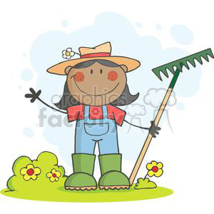 Farmer girl with a rake in grass with flowers clipart. Commercial use image # 379906