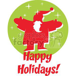 Happy Holidays Santa in front of a green circle with stars clipart. Royalty-free image # 379911