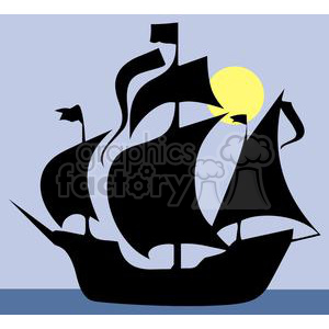 Pirate ship silhouette on the calm sea clipart. Commercial use image # 379966