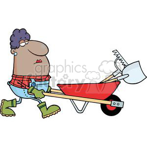 2469-Royalty-Free-African-American-Woman-Gardener-Drives-A-Barrow-With-Tools clipart. Commercial use image # 379971