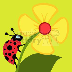 2642-Royalty-Free-Ladybug-Crawling-On-A-Flower clipart. Royalty-free image # 379976