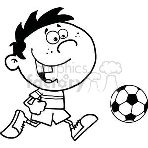 cartoon funny comical vector soccer player playing ball black white