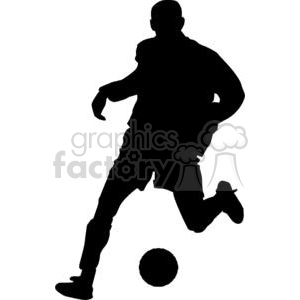 2537-Royalty-Free-Silhouette-Soccer-Player-With-Ball clipart. Royalty-free image # 379986
