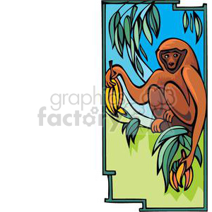 monkey in a banana tree clipart. Royalty-free image # 380038